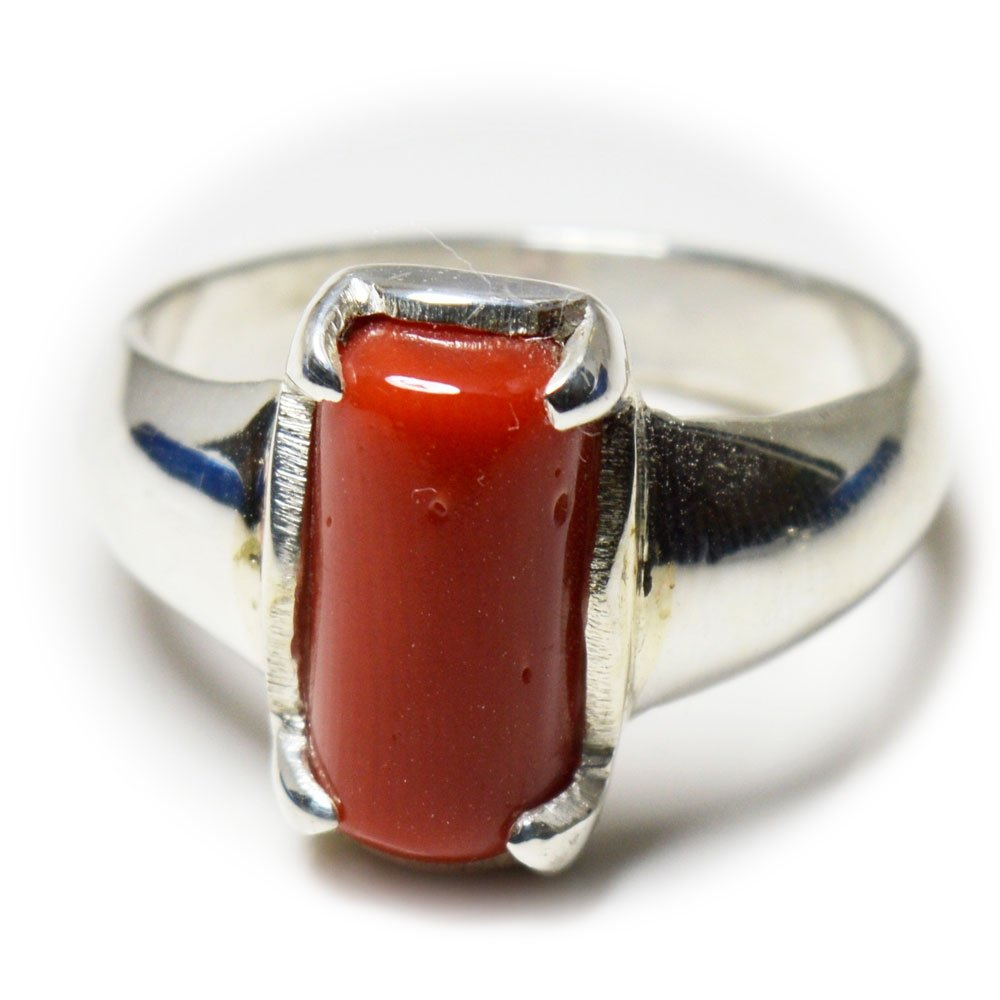 55Carat Red Coral Ring 6 Carat Stone Sterling Silver Prong Handmade Ring Size 4,5,6,7,8,9,10,11,12,13