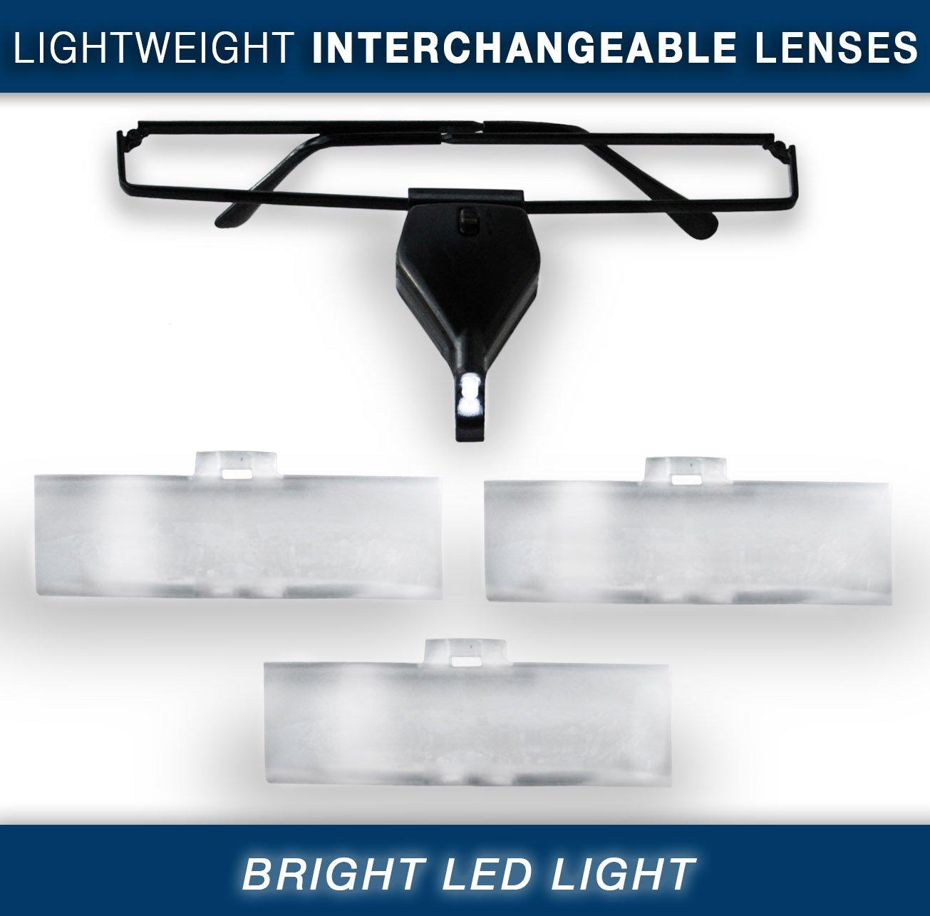 Amazon Com Magnifier Glasses W Led Light Lightweight Frame Lenses