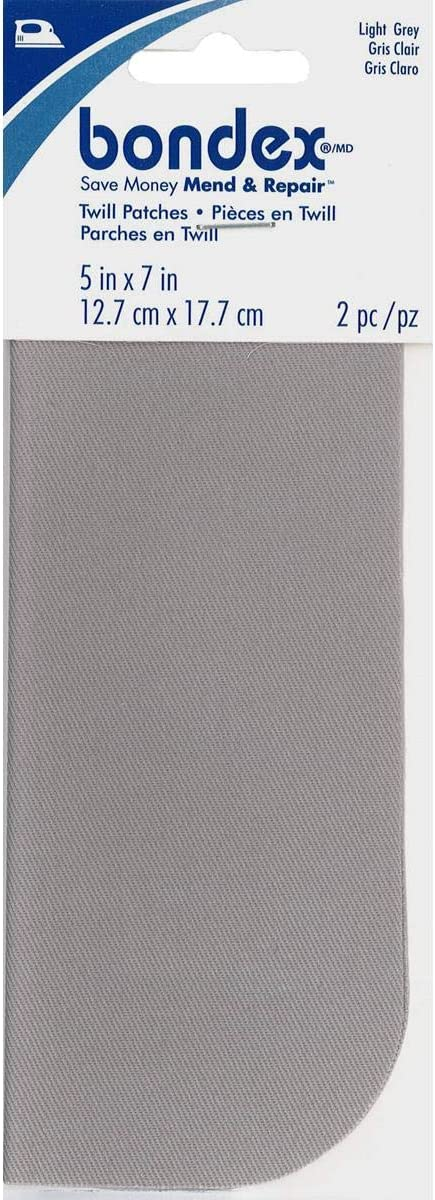 "Bondex Iron-On Patches 5x7"" 2/Pkg.-Light Grey"