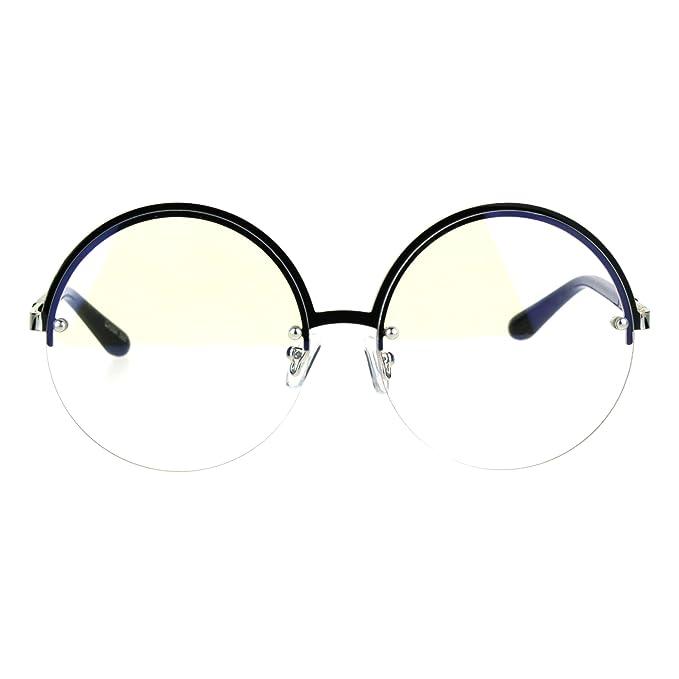 Amazon.com: Womens mitad Rim expuestos lente redonda Círculo ...