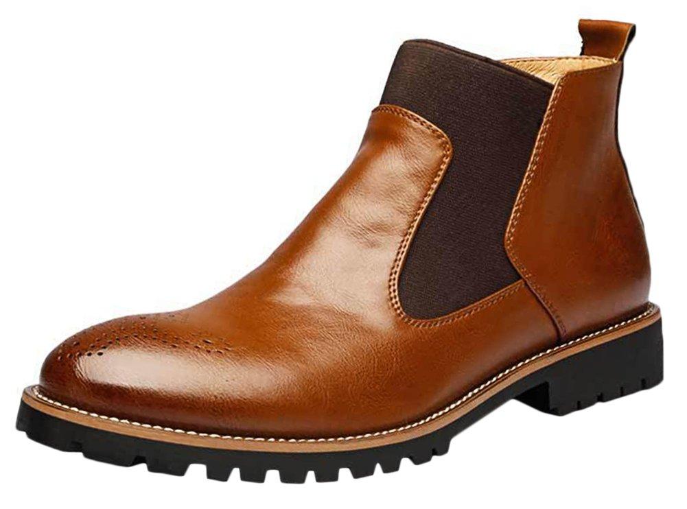 Bevalsa Chelsea Boots Herren aus Leder in Schwarz oder Braun Casual Stiefel mit Kurzschaft Business Schuhe Winterstiefel Sportlich Elegant Braun