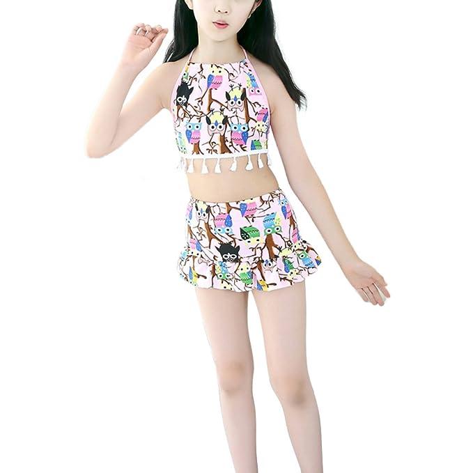 ESHOO Las niñas blusas florales y nadar falda conjunto traje de baño Tankini traje de baño