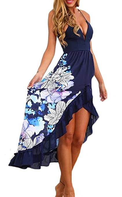 YLnini Women Sexy Backless V Neck Halter Strap Beach Dress
