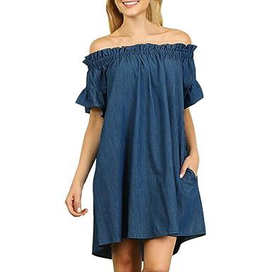 Elecenty Damen Jeans-Kleid,Kurzarm Übergröße Hemdkleid Blusekleid  Schulterfrei Sommerkleid Partykleid Mädchen Kleider Frauen Kleid Minikleid  Solide ... 99285d61ff