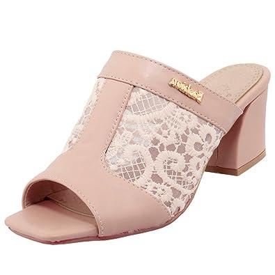 Artfaerie Damen Mittel Absatz Offen Slipper Mules mit Spitze und Blockabsatz Slingback Pantoletten Bequem Loafers Schuhe