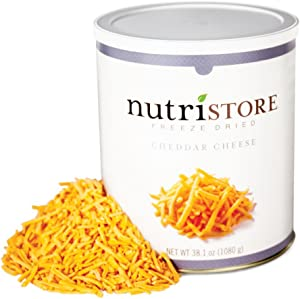 Nutristore Freeze-Dried Cheddar Cheese Shredded | Amazing Taste & Quality | Perfect for Snacking, Backpacking Camping, or Home-Cooked Meals | Emergency Survival Food Storage | 25 Year Shelf-Life
