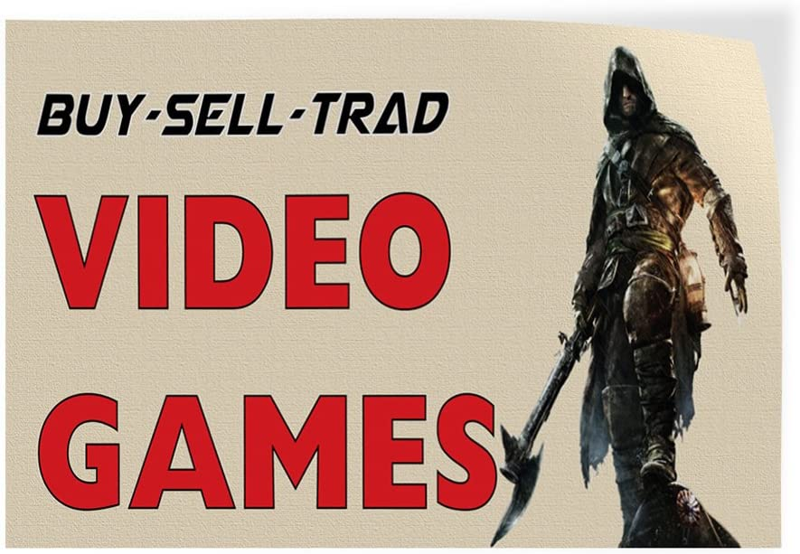 Set of 5 Decal Sticker Multiple Sizes Buy-Sell-Trad Video Games Business Sell Outdoor Store Sign White 27inx18in