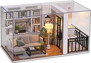 CUTEBEE Dollhouse Miniature with Furniture, DIY Wooden Dollhouse Kit Plus Dust Proof , 1:32 Scale Creative Room Idea (Vitality Life)