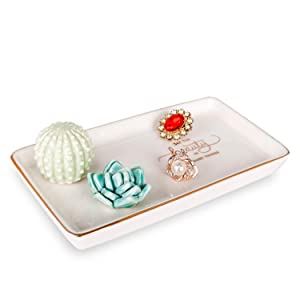 Kimdio Ring Holder Succulents Jewelry Dish Cactus Trinket Tray Necklace and Earring Holder for Women Home Decor Birthday Wedding Gift for Mom, Friend, Girlfriend