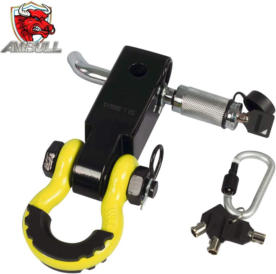 Heavy Duty Solid Recovery Kit Orange 2 Insurance Pins AMBULL Shackle Hitch Receiver 2 Inch with 3//4 Inch D-Ring Shackle Locking Pin