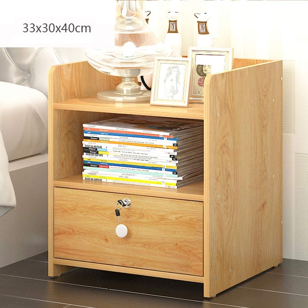 GJM Shop Bedside Table Single Drawer/Double Drawers with Lock MDF/Fiberboard Bed Cabinet Bedside Cabinet Bedroom Furniture (Color : Double Bucket Drawer-1)