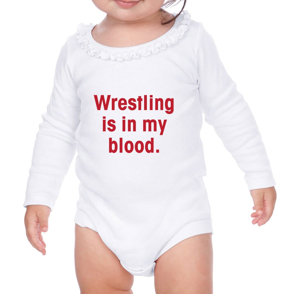 Cute Rascals Wrestling is in My Blood Sunflower Ruffle Long Sleeve Bodysuit White 6 Months