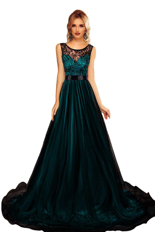 Nuevo Verde y Negro Bordado de Malla sirena vestido de cóctel vestido largo de noche vestido de prom Party Wear vestidos de novia (tamaño S UK 8 - 10: ...