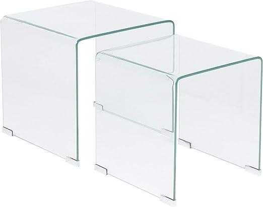 Kendall - Juego de mesas auxiliares de Cristal Transparente ...
