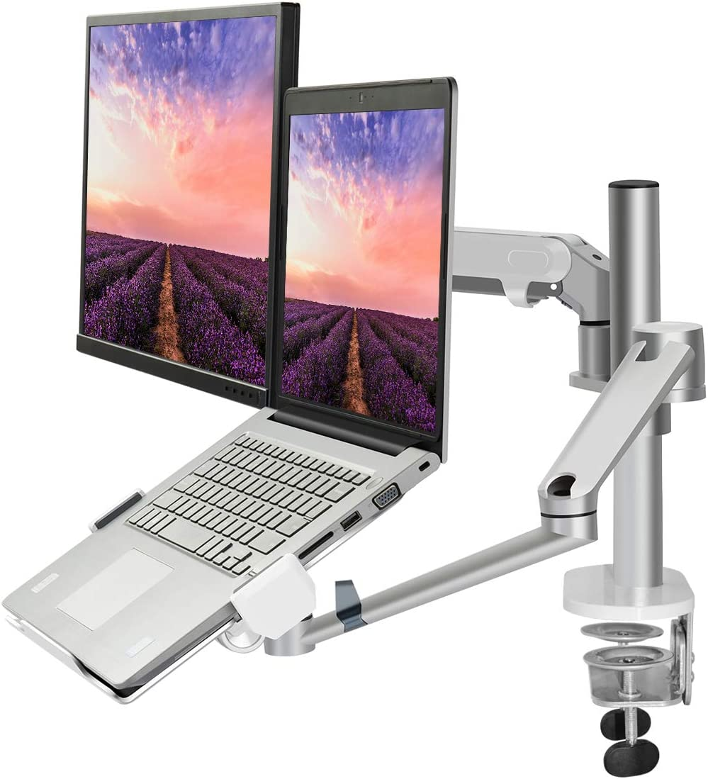 "Monitor and Laptop Mount Stand, 2-in-1 Aluminum Adjustable Monitor Laptop Desk Mount, Single Gas Spring Arm with Laptop Tray for 12-17"" Notebook, Single Arm Stand for 17-32"" Computer Monitor (Silver)"