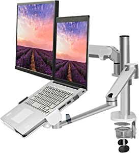"""Monitor and Laptop Mount Stand, 2-in-1 Aluminum Adjustable Monitor Laptop Desk Mount, Single Gas Spring Arm with Laptop Tray for 12-17"""" Notebook, Single Arm Stand for 17-32"""" Computer Monitor (Silver)"""