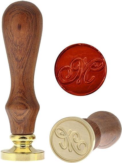 J Mogokoyo Vintage-Stil Wachs Siegelstempel Stempel mit Holzgriff A-Z Dekorativer Siegel Petschaft Brief 26 Buchstaben