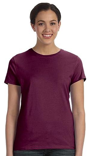 Hanes Ladies 4.5 oz., 100% Ringspun Cotton nano-T T-Shirt, MAROON