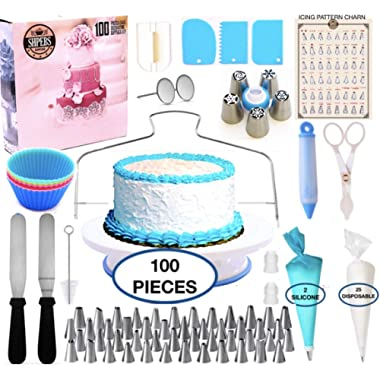 Cake Decorating Supplies Kit-100 PCS Baking SET | Nonslip Rotating Turntable stand | 48 Numbered Easy to use Icing Tips with Pattern chart | piping Bags-Pastry and Frosting Tools-Russian Nozzles