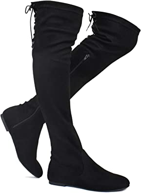 Knee Flat Boots Stretchy Back Lace Tie