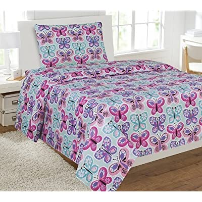 Sheet Set for Girls Butterfly Light Blue Turquoise Pink Purple New (Full): Home & Kitchen