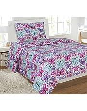 Full Size 4pc Sheet Set Girls Butterfly Light Blue Turquoise Pink Purple