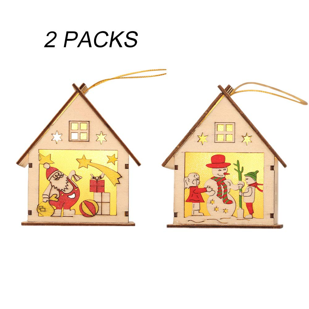 LED Light Hanging Ornaments for Christmas, Cute Wood House Christmas Tree Decoration LUCOSS