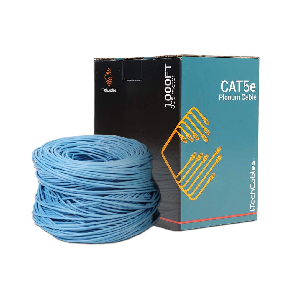 CAT5E PLENUM 1000ft CABLE BULK ETHERNET CMP RATED RJ45 WIRE  BLUE