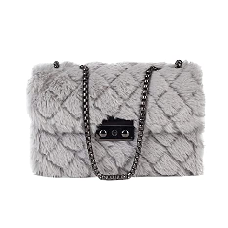 779b84ee99 RFVBNM Plush Small Bag Female Rhombic Chain Faux Fur Handbags Small Square  Bag Korean Version of The Wild Shoulder Bag Messenger Bag