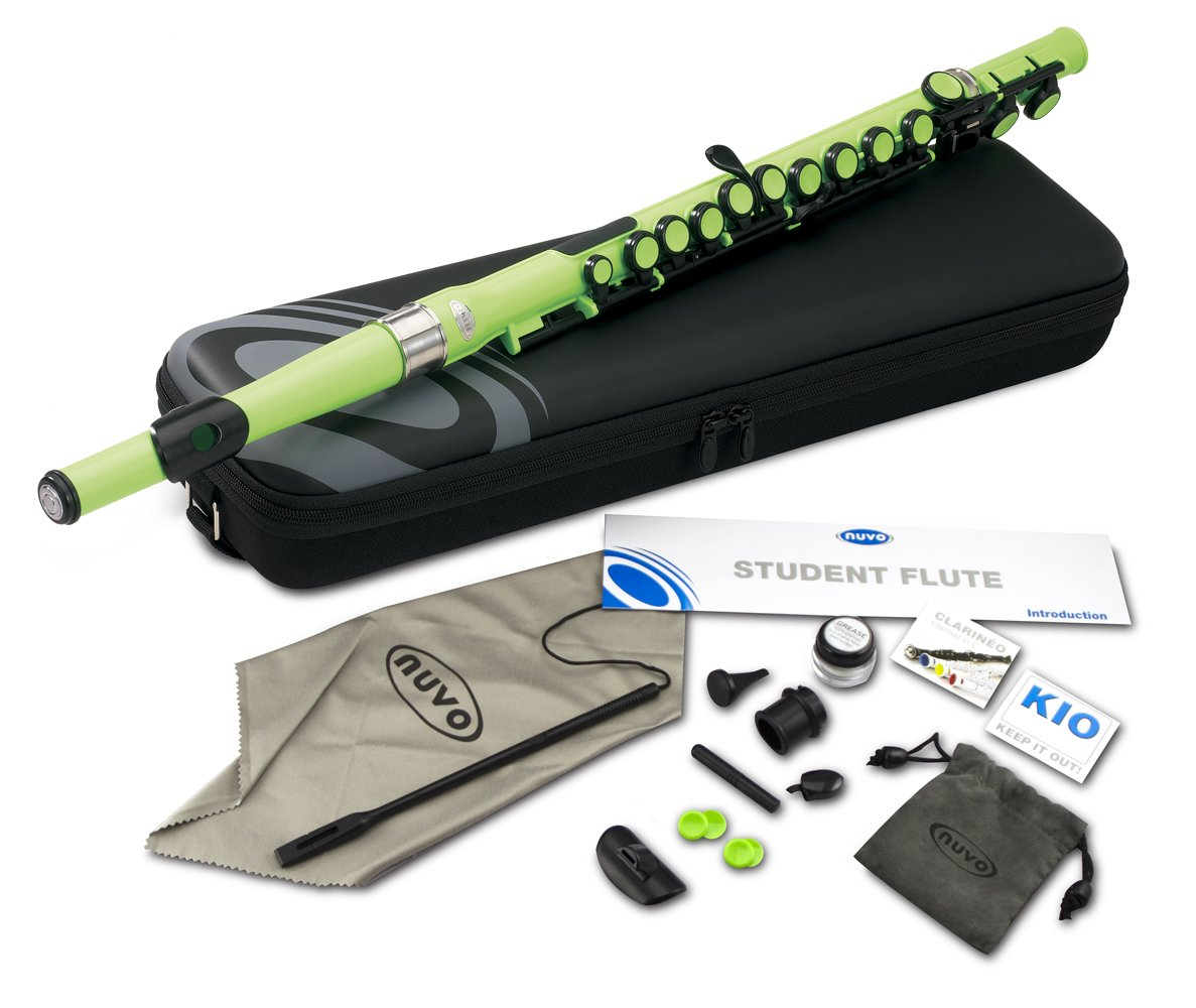 Nuvo SE200FGR Student Flute Kit with Straight Head, C, Foot, Case & Accessories, Special Edition Laser Green