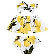Newborn Baby Girls Summer Outfits Lemon Floral Print Off-Shoulder Tube Top+ Tassel Shorts with Headband 3PCS Clothes Set (12-18 Months)
