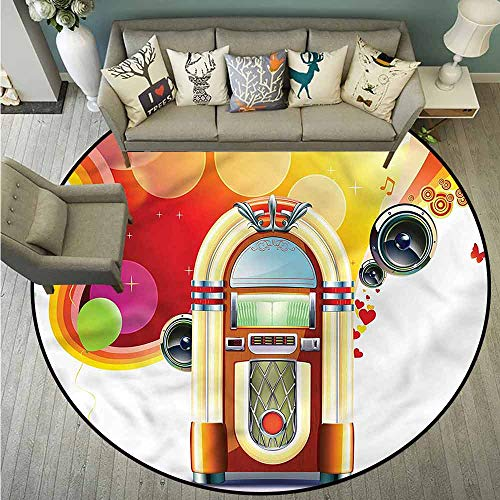Living Room Round Rugs,1950s,Retro Party Classic Jukebox,Rustic Home Decor,4'3