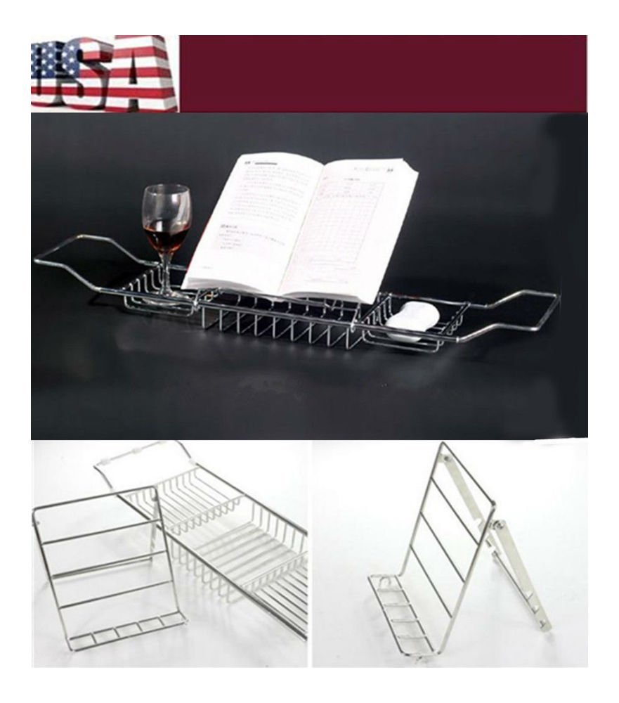 Bath Tub Book Wine Rack CHROME Plated Shower Shelf Holder Tray Caddy Extendable