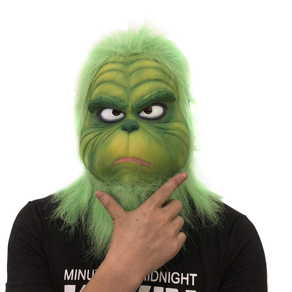 Funny Novelty Green Christmas Latex Grinch Mask Christmas Cosplay Prop Masks Winsummer