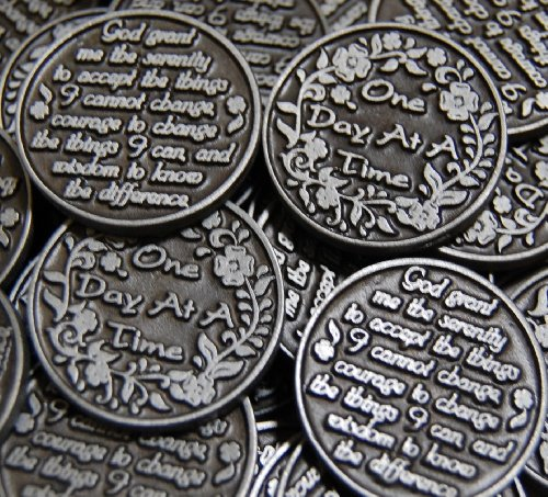 Set of 10 One Day at a Time /Serenity Prayer Pocket Token Coins