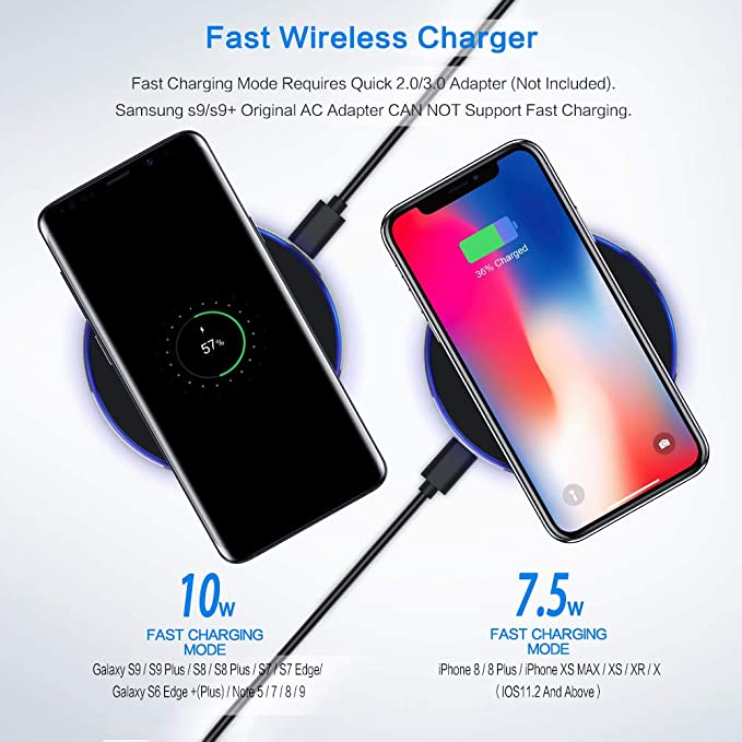 Aluminum Fast Wireless Charger Pad,7.5W Compatible with iPhone Xs MAX/XR/XS/X/8/8 Plus,10W Compatible Galaxy S10/S10 Plus/S10E/S9 and All Qi-Enabled ...