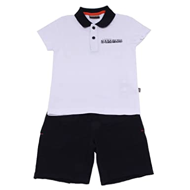 Napapijri 7815Y Completo Bimbo Boy White/Blue Polo+Shorts Cotton ...