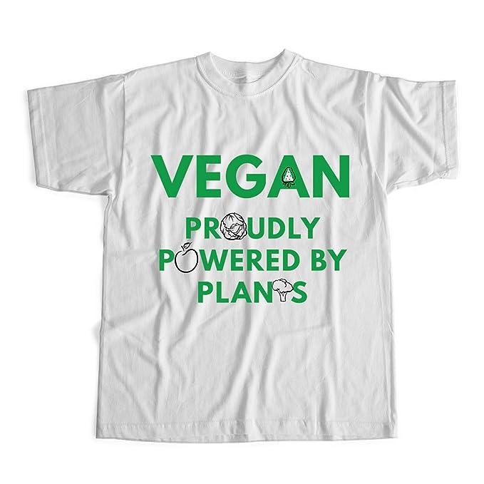 Vegan Proudly Powered by Plants Camiseta Vegan Camiseta Unisex Blanco S