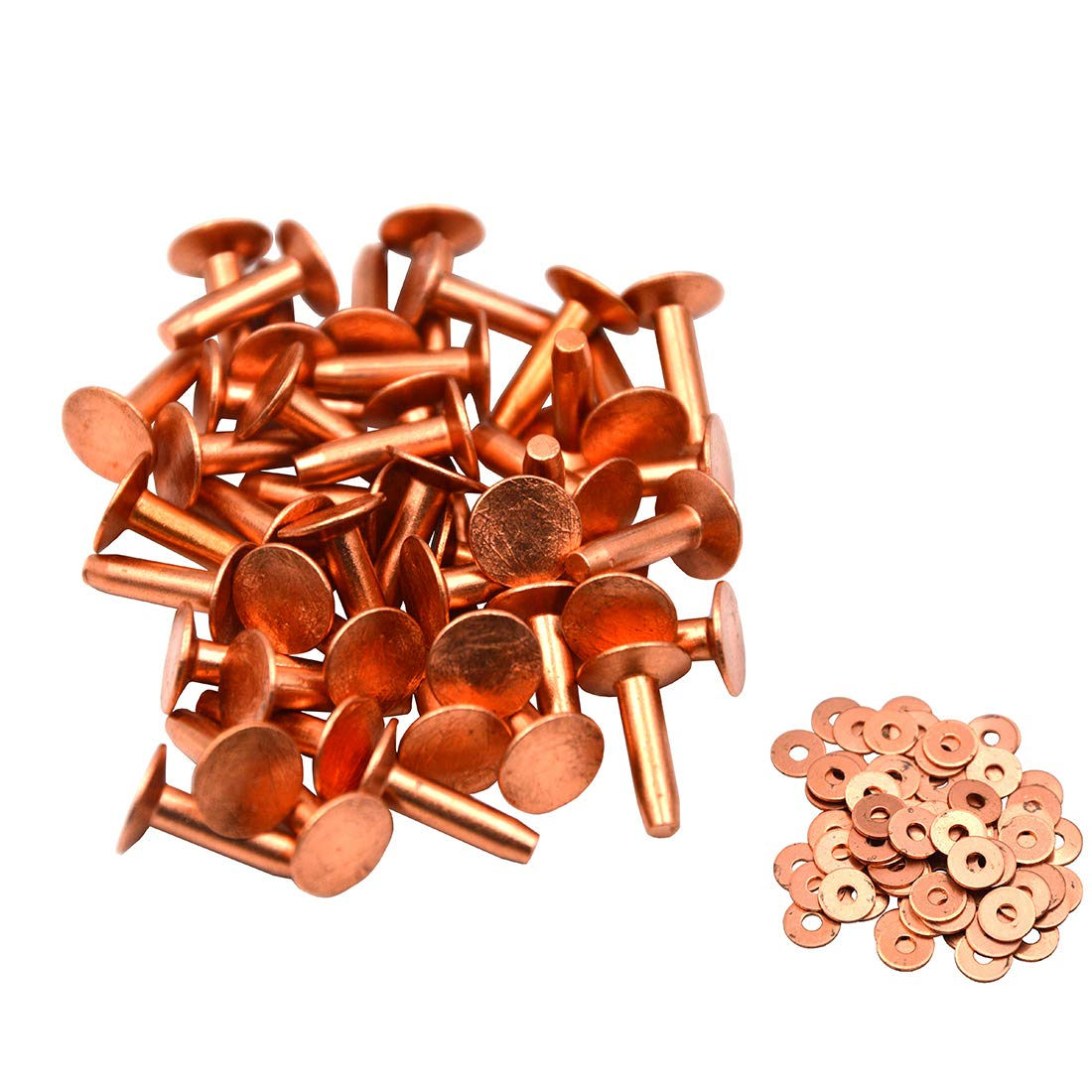 Okones Pack of 40,1//2Cap/×5//32Shaft/×4//5Tall,Solid Copper Rivets and Burrs Studs Spike for Leather Craft Belt Wallet 1//2Cap/×5//32Shaft/×4//5Tall, red Copper
