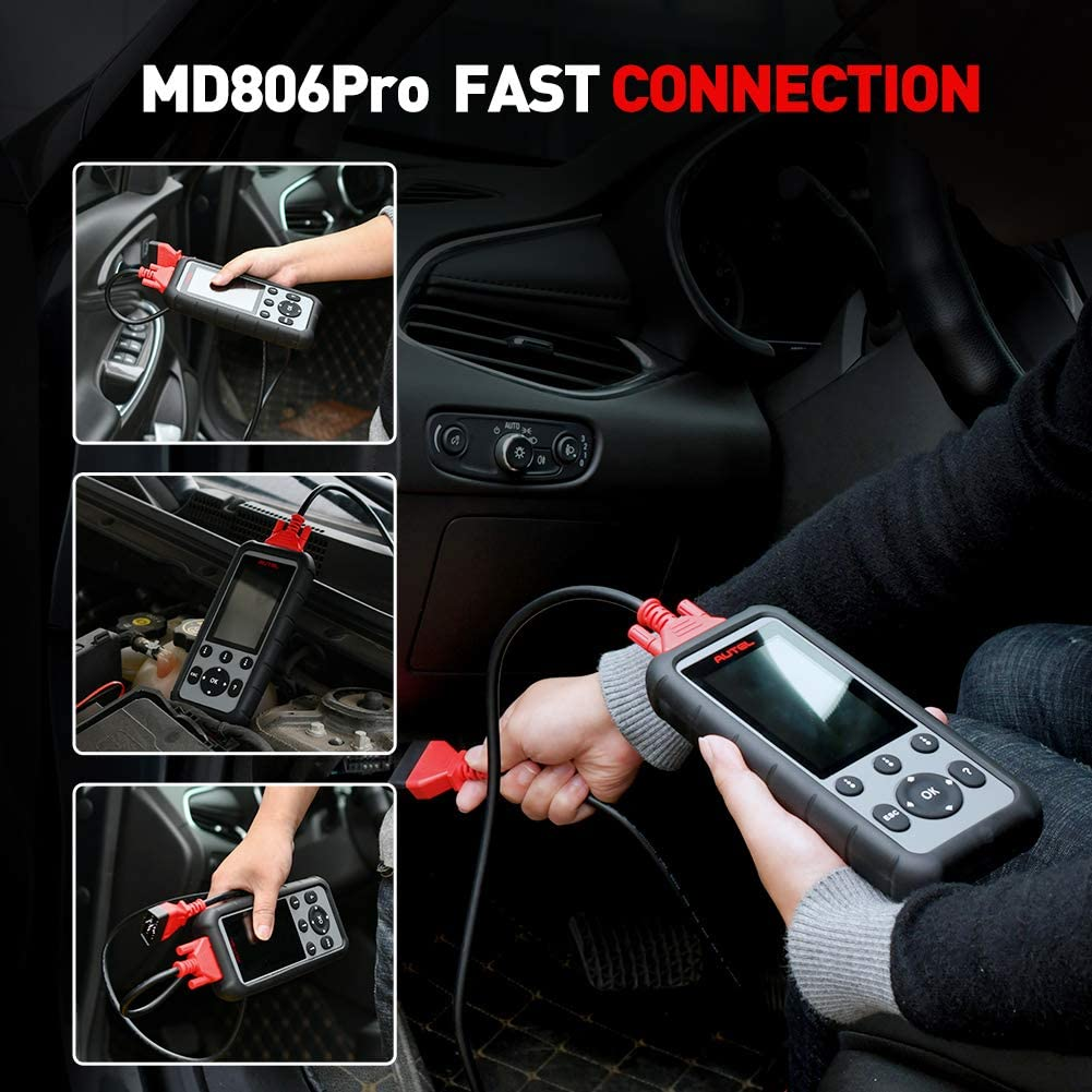 Autel MD806 Pro Data Playback /& Print for DIYers and Mechanics OBD2 Scanner Upgraded Version of MD806//MD808 with All System Diagnoses Plus DTC Lookup 7 Special Features