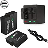 2 x Replacement Battery and 3-Channel Charger for Gopro Hero 6,Hero Black,Hero 5, Hero Black,Hero(2018) by Mibote (Compatible with v02.51, v02.00, v01.57 and All Future Updates) (Battery-3)
