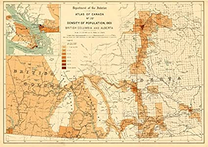 Map Of Canada Population Density.Amazon Com Canada Population Density 1901 British Columbia And