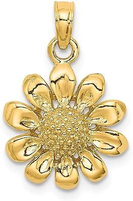 14k Yellow Gold Sunflower Pendant