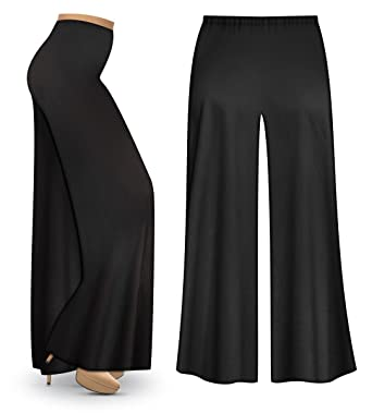 ad2f723a85a Sanctuarie Designs Black Poly Cotton Jersey Knit Wide Leg Plus Size  Supersize Palazzo Pants at Amazon Women s Clothing store