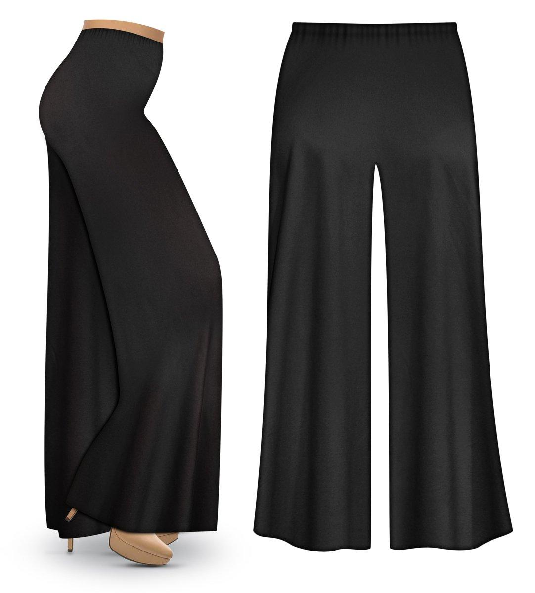 Sanctuarie Designs Black Poly/Cotton Jersey Knit Wide Leg Plus Size Supersize Palazzo Pants 3X