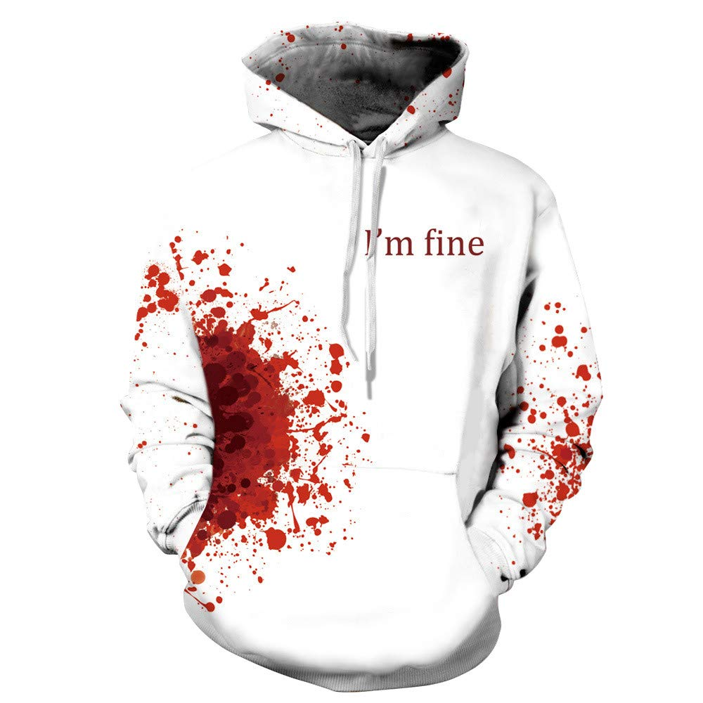 Alalaso Halloween Women Men Blood 3D Printing Long Sleeve Hoodie I'm Fine Sweatshirt Pullover Top(Red,L/XL)