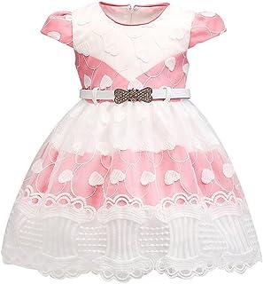 feiXIANG Bambina Bambine Vestiti Tutu da Sposa con Cintura Rosa Vestito della Carnevale Formale Abito da Princess Estivo Abiti Senza Spalline Elegante