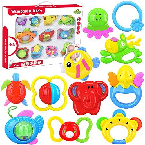 Linshop 10個の赤ちゃんの手のガラガラおもちゃ新生児カラーボックスのスーツ