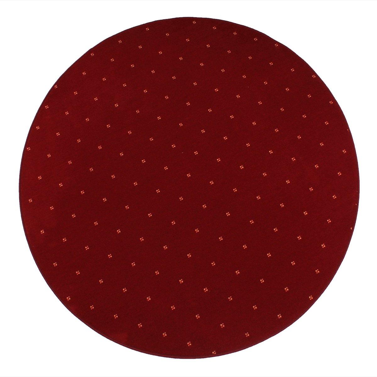 havatex Luxus Velours Teppich Oxford rund - Farbe wählbar | Geprüfte Qualität: die Teppiche sind schadstoffgeprüft pflegeleicht modern und elegant, Farbe:Rot, Größe:300 cm rund