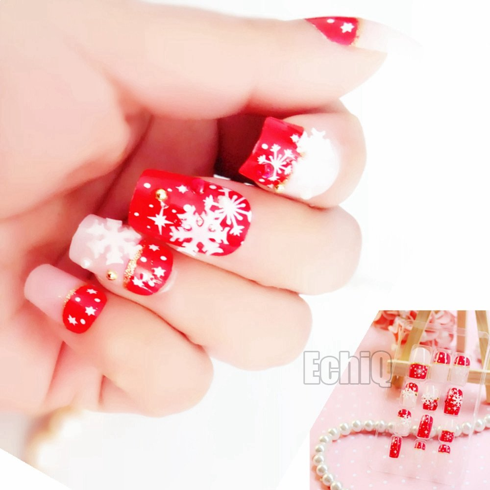 CoolNail 24pcs/set Pearl Nude Pink Black 3D Fake Nails French False Nails White Snowflake Star Full Nail Tips for Christmas Holiday
